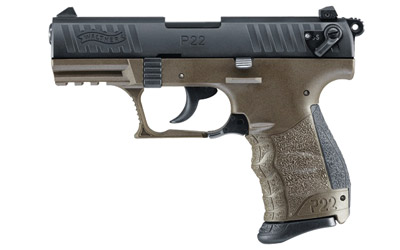 WALTHER P22 22LR 3.4inch MIL-SPEC Green Pistol with 1-10rd mag and adjustable sights.